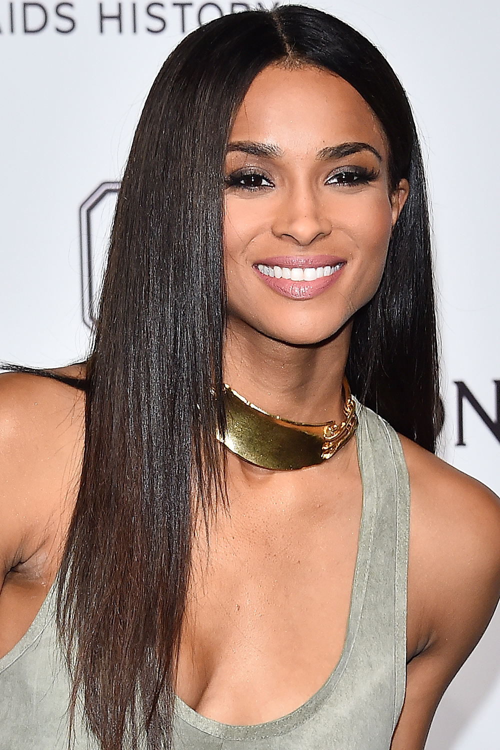 Ciara brunette hair at amfAR Milano 2015