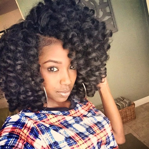 Crochet Braids Curly Afro : Highlighted crochet braids for African American women
