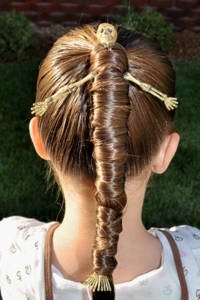 Halloween Hairstyles for kids with skeleton