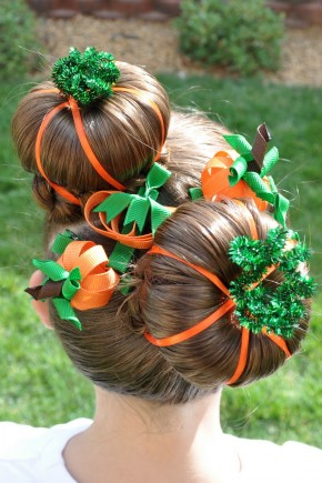 Halloween Hairstyles for kids with pumpkins