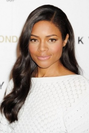 Side swept long straight Hairstyles for black women