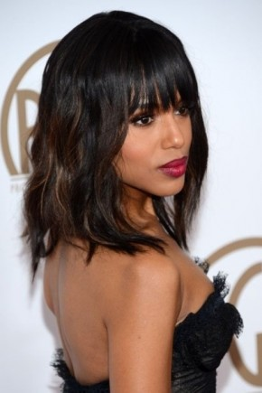 Straight Hairstyles with bangs for black women