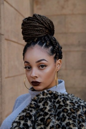 box braids bun hairstyles for black women