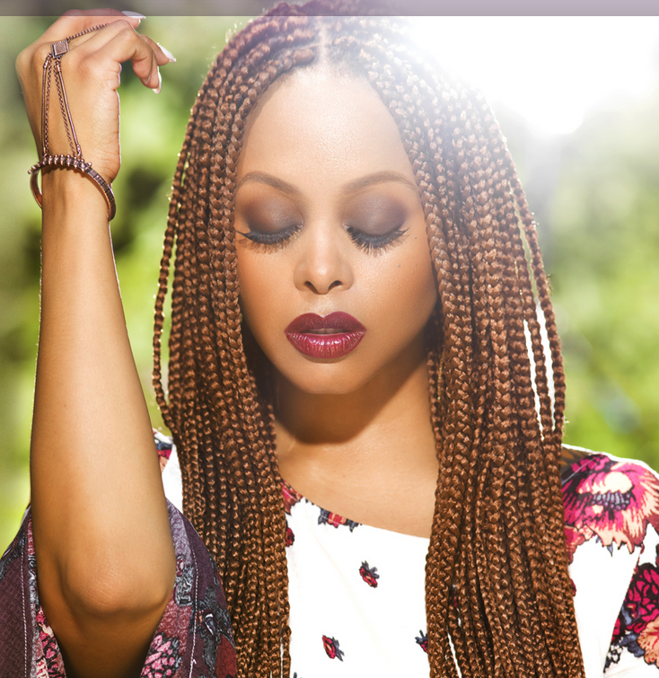 colourful small box braids hairstyles