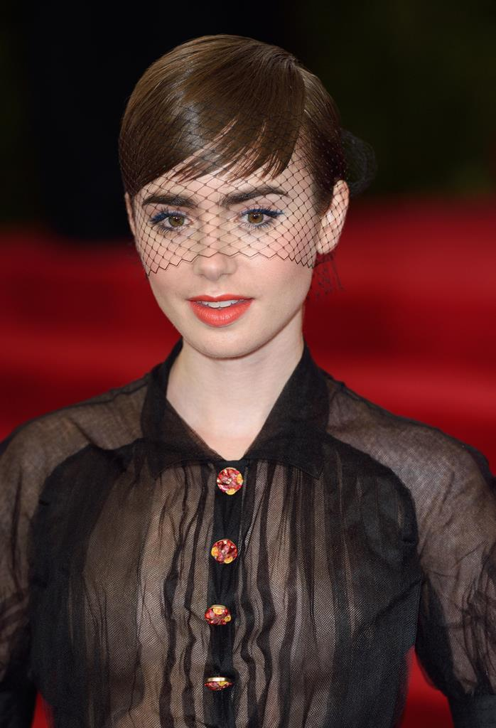 Lily Collins Holiday Hairstyles 2016