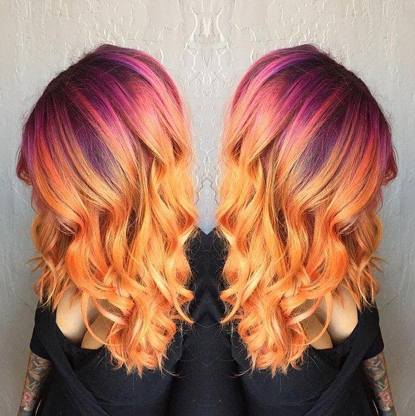 Sunset Rainbow hair colors 2016