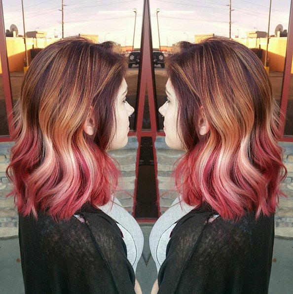 Brown to pink Rainbow hair colors 2016