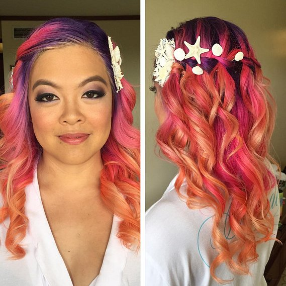 Pink Rainbow hair colors 2016