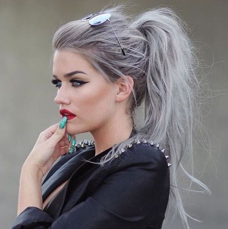 Grey hair color and messy ponytails