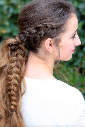 messy ponytails and Dutch braid