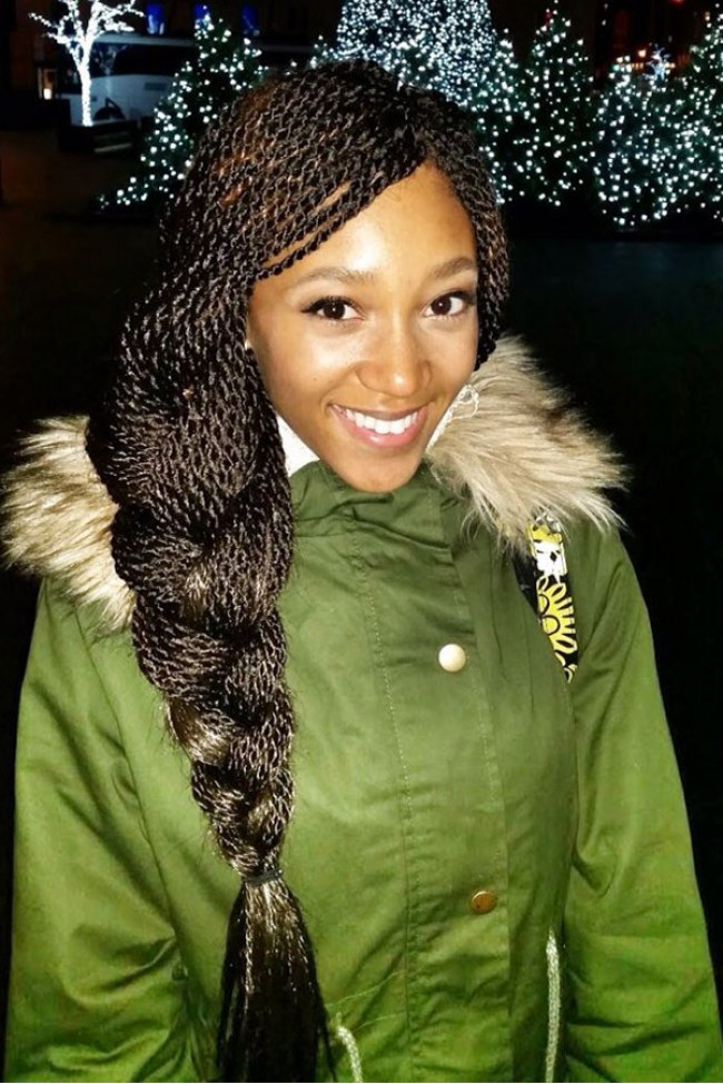 Long Box Braids Hairstyles into French Braid