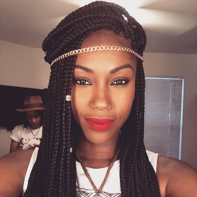 Long Loose Box Braids Hairstyles for black women