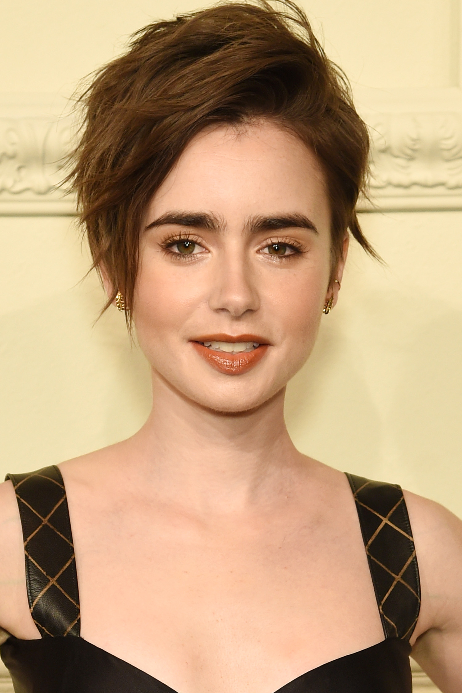 Lily Collins pixie cuts