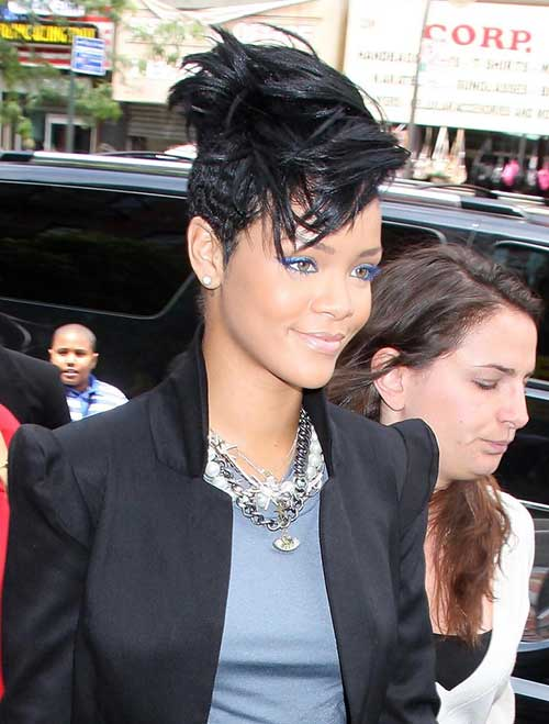Rihanna Short Black Mohawk HairStyles