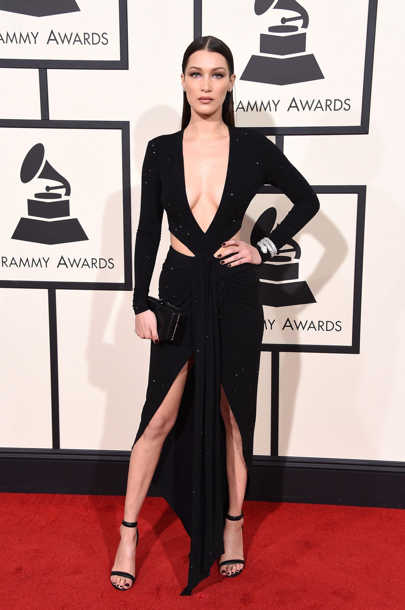 BELLA HADID celebrity hairstyles 2016 Grammys