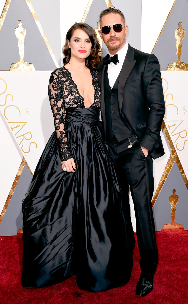 TOM HARDY & CHARLOTTE RILEY hairstyles at Oscar´s 2016