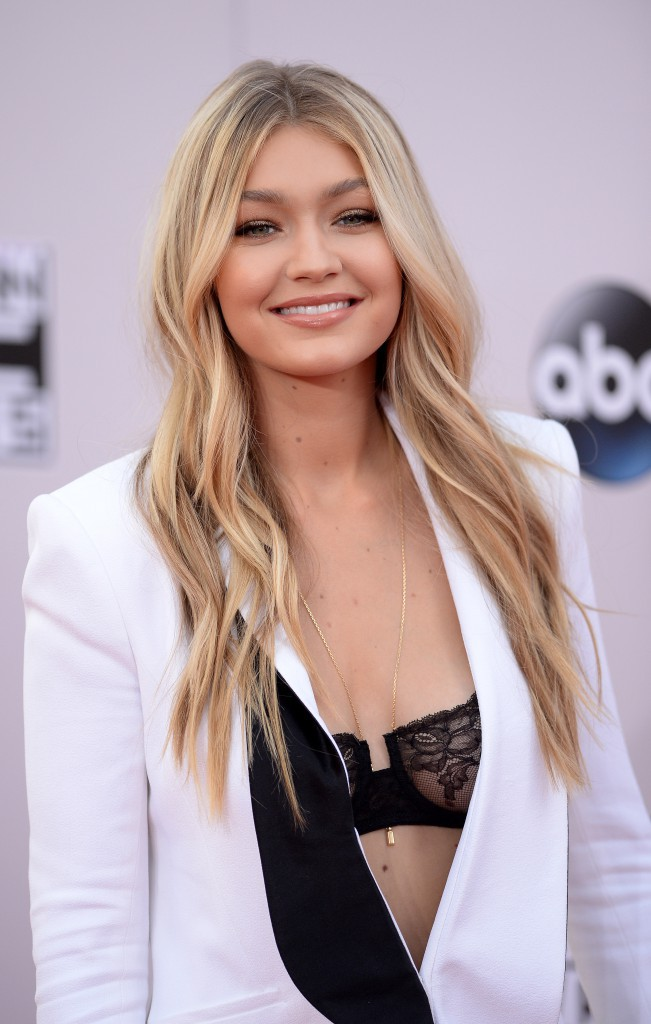 Gigi Hadid center parted hairstyle