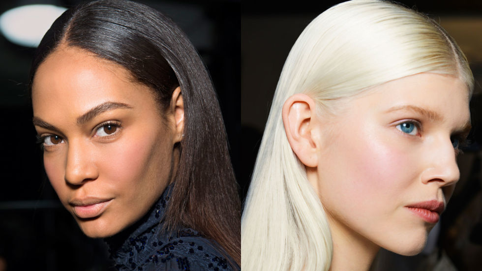 runway center parted hairstyles 2017