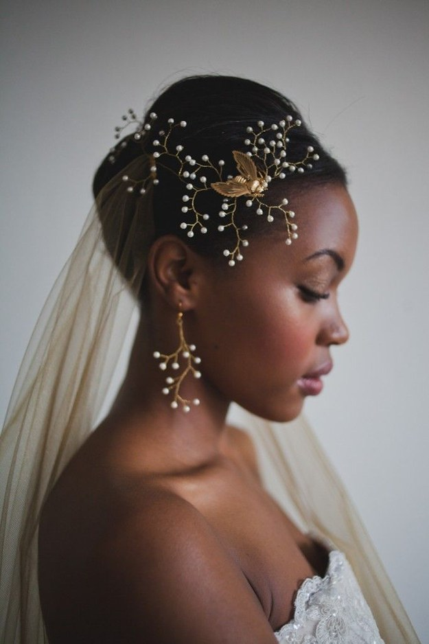 Black Wedding Hairstyles with glamorous accessories