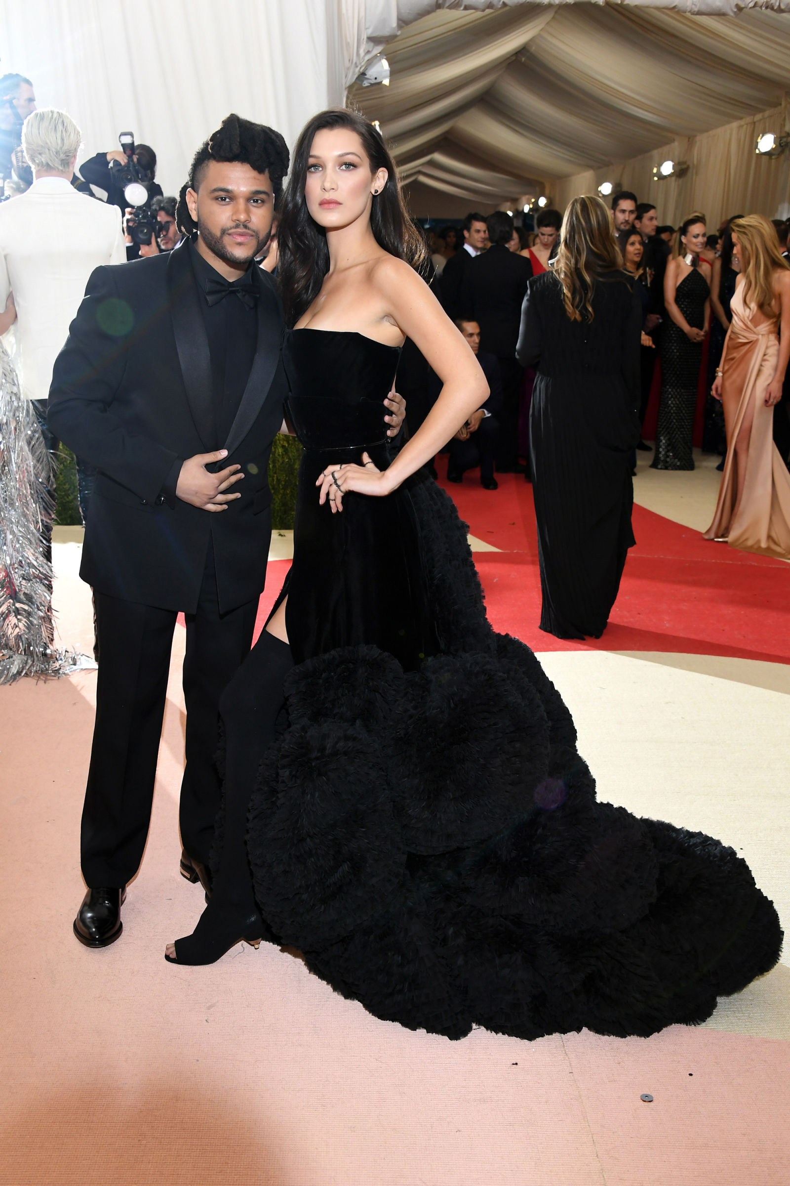 Bella Hadid and The Weeknd hairstyles at Met Gala 2016