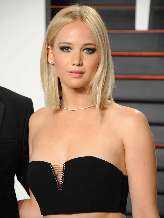 Jennifer Lawrence sleek bob and barbie blonde hair