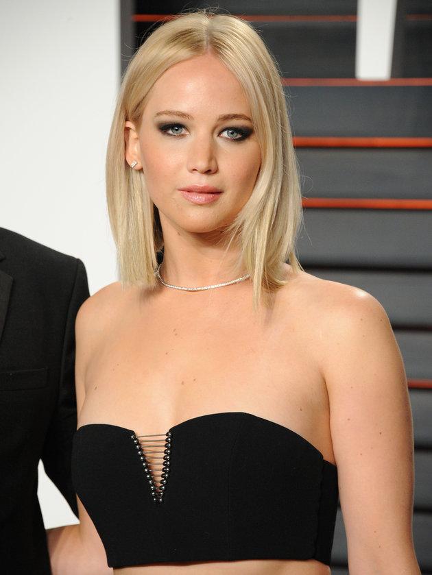 Jennifer Lawrence sleek bob and barbie blonde hair