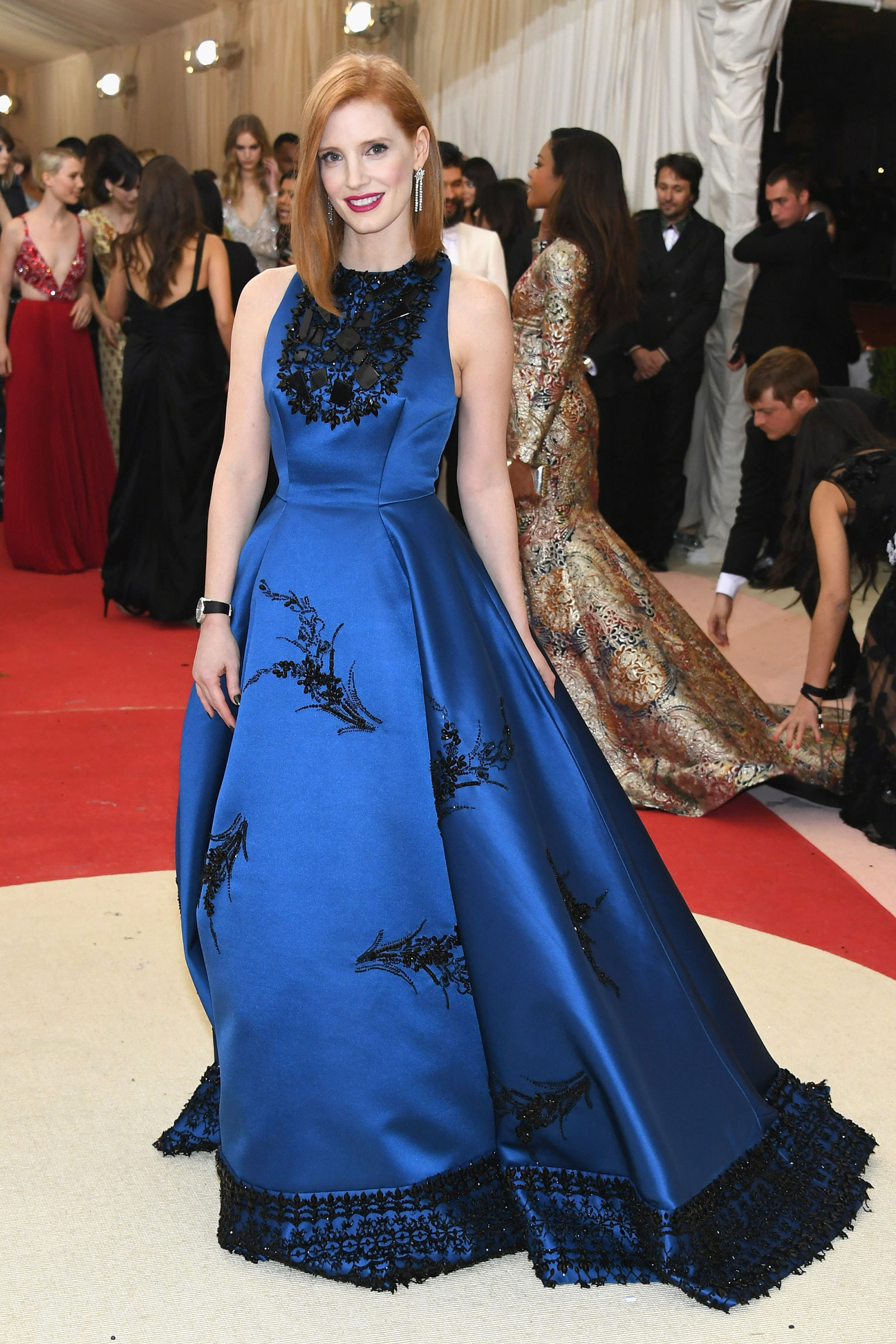 Jessica Chastain lob hairstyles at Met Gala 2016