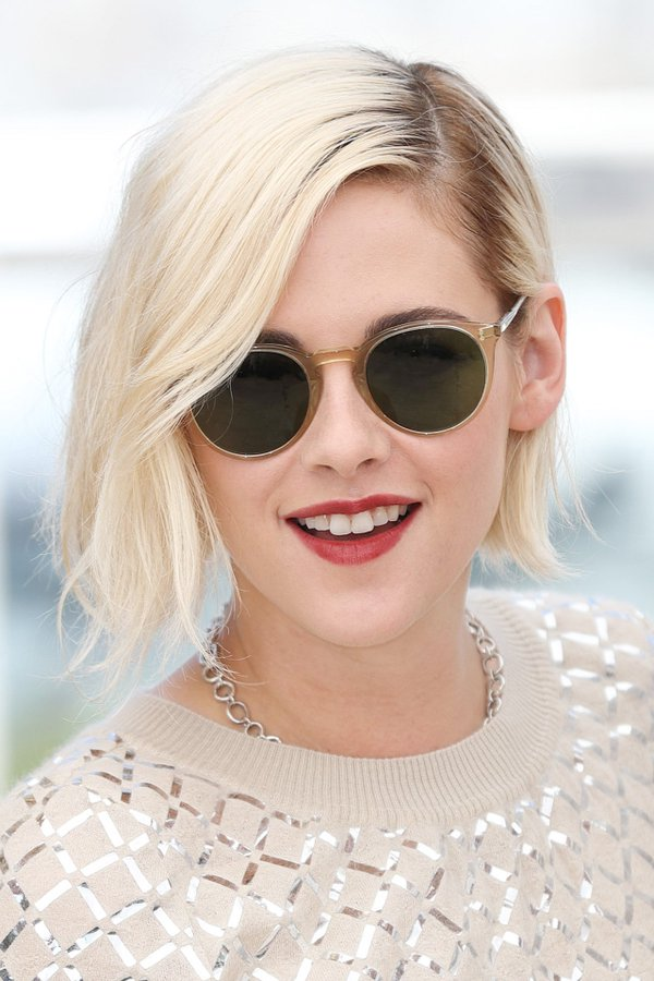 Kristen Stewart ice blonde bob haircut