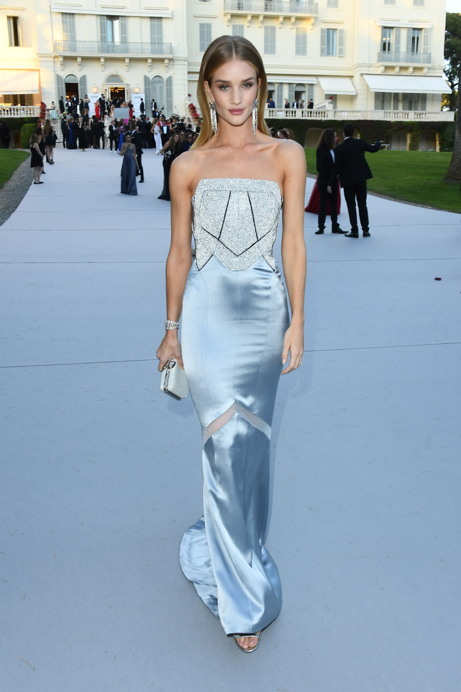 Rosie Huntington-Whiteley center parted long hairstyle
