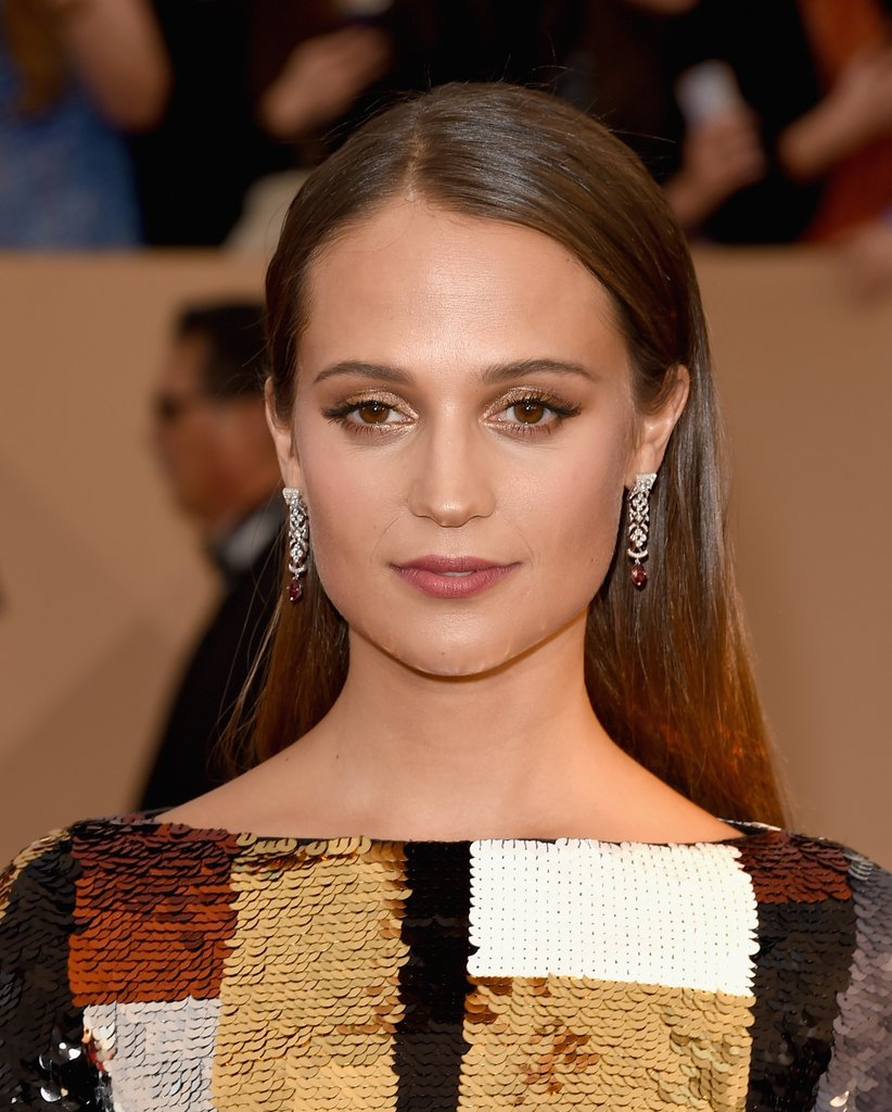 Alicia Vikander long slick hairstyles