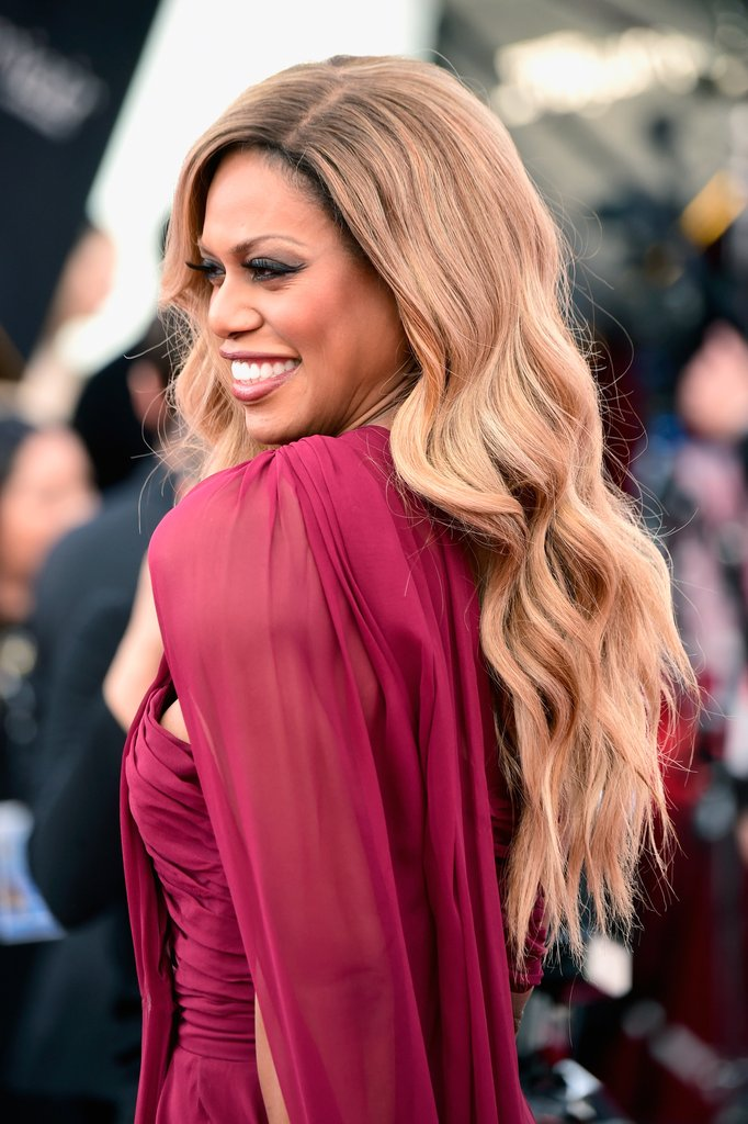 Laverne Cox long waves at SAG 2016