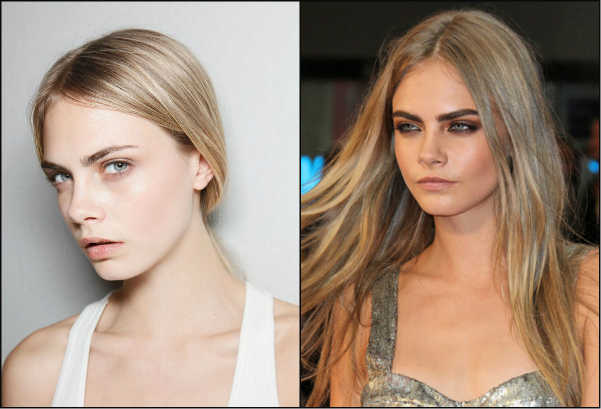Cara Delevingne middle part hairstyles