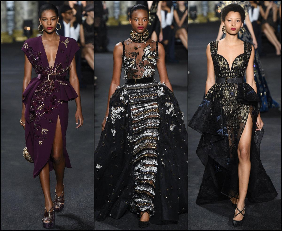 Elie Saab slicked black women hairstyles Couture 2017