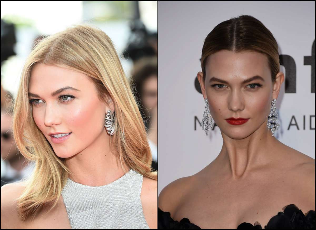 Karlie Kloss middle part hairstyles