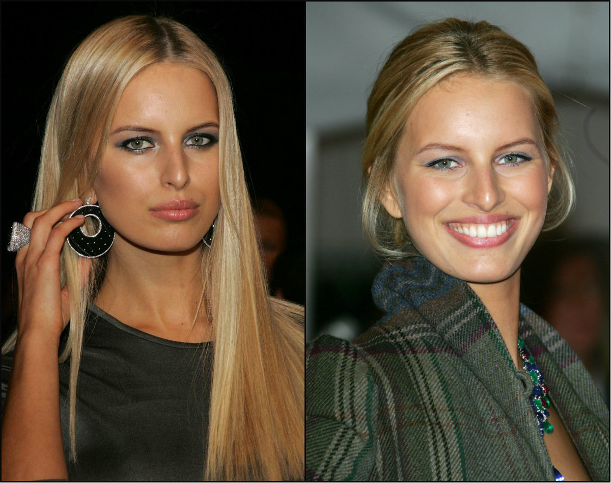 Karolina Kurkova center parted hairstyles