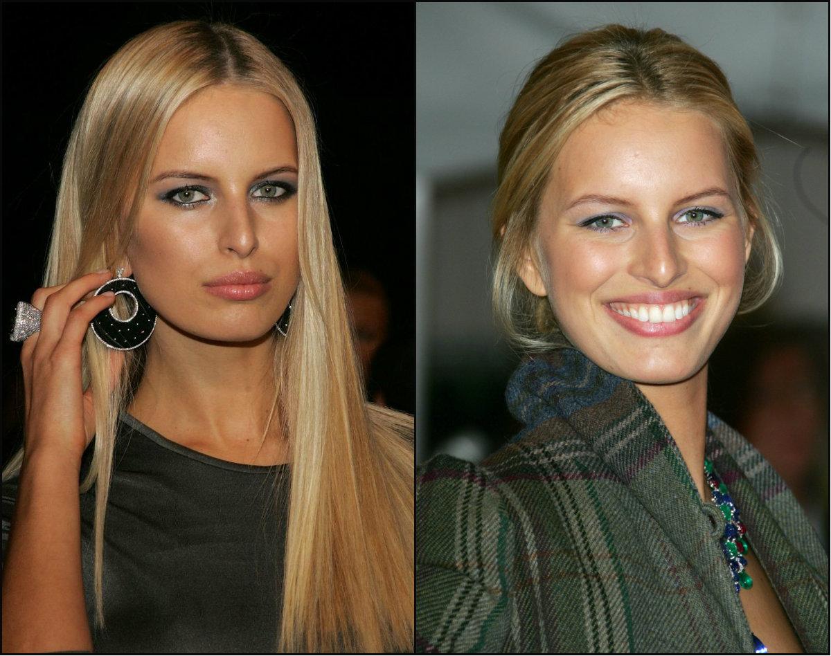 Karolina Kurkova center parted hairstyles