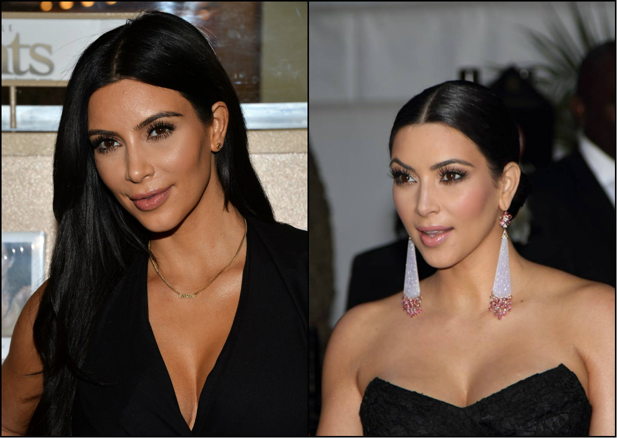 Kim Kardashian middle part hairstyles