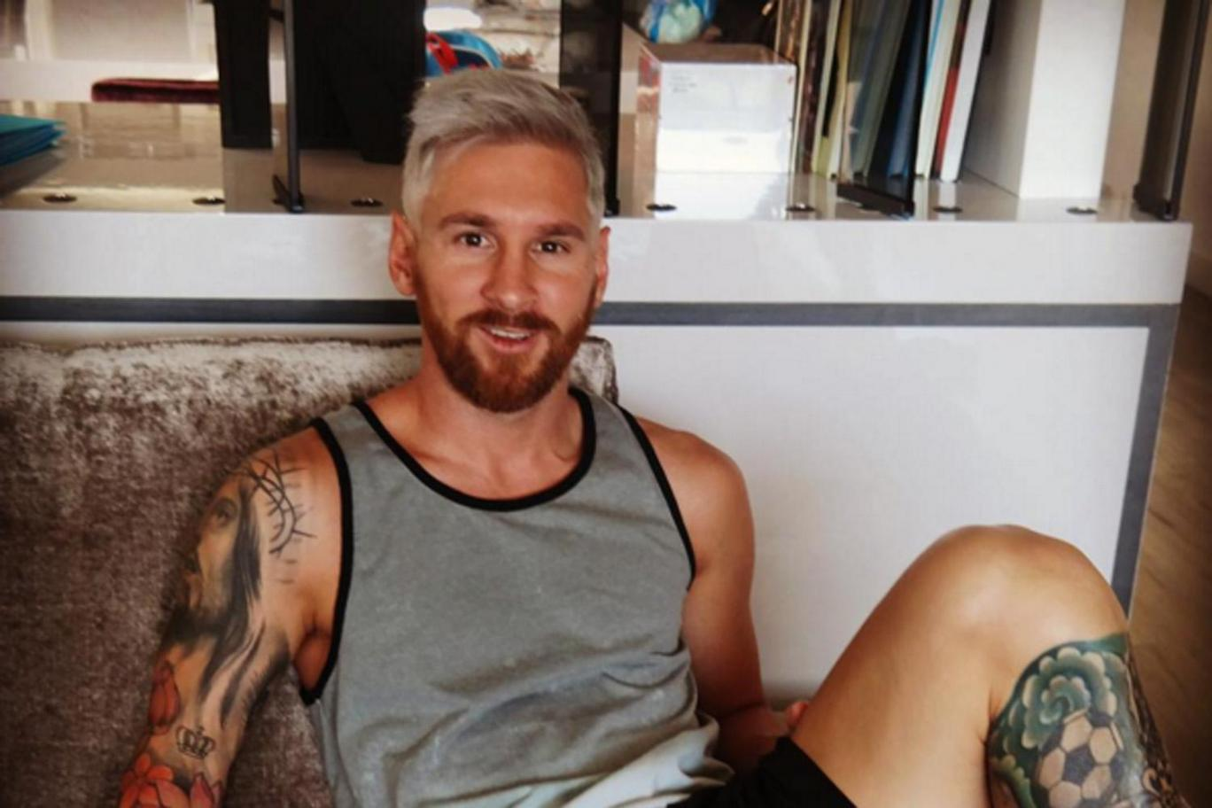 Lionel Messi new blonde hairstyle look 2016