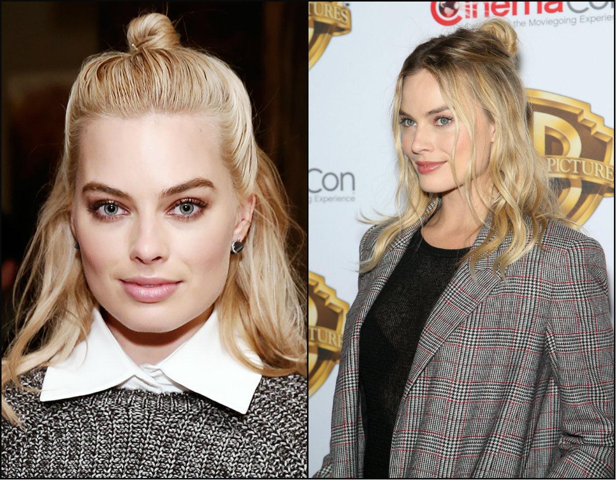 Margot Robbie half top knot hairstyles