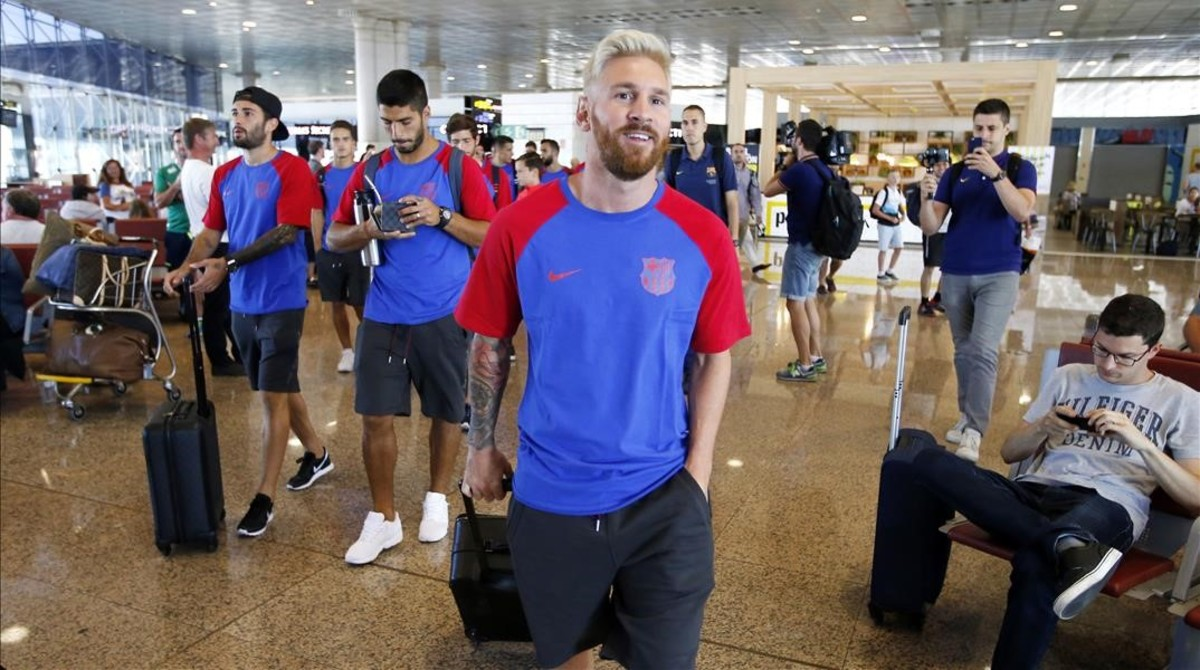 Messi blonde hairstyle and red beard