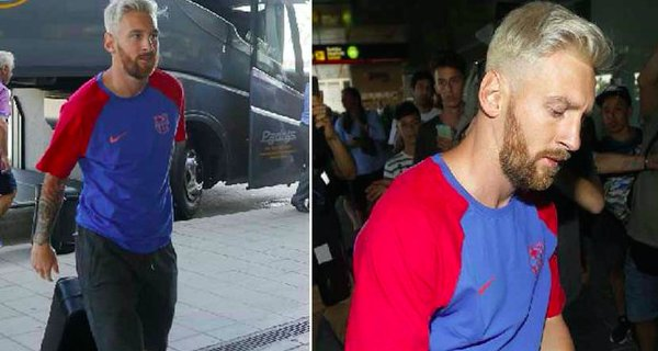 Messi crazy blonde haircut