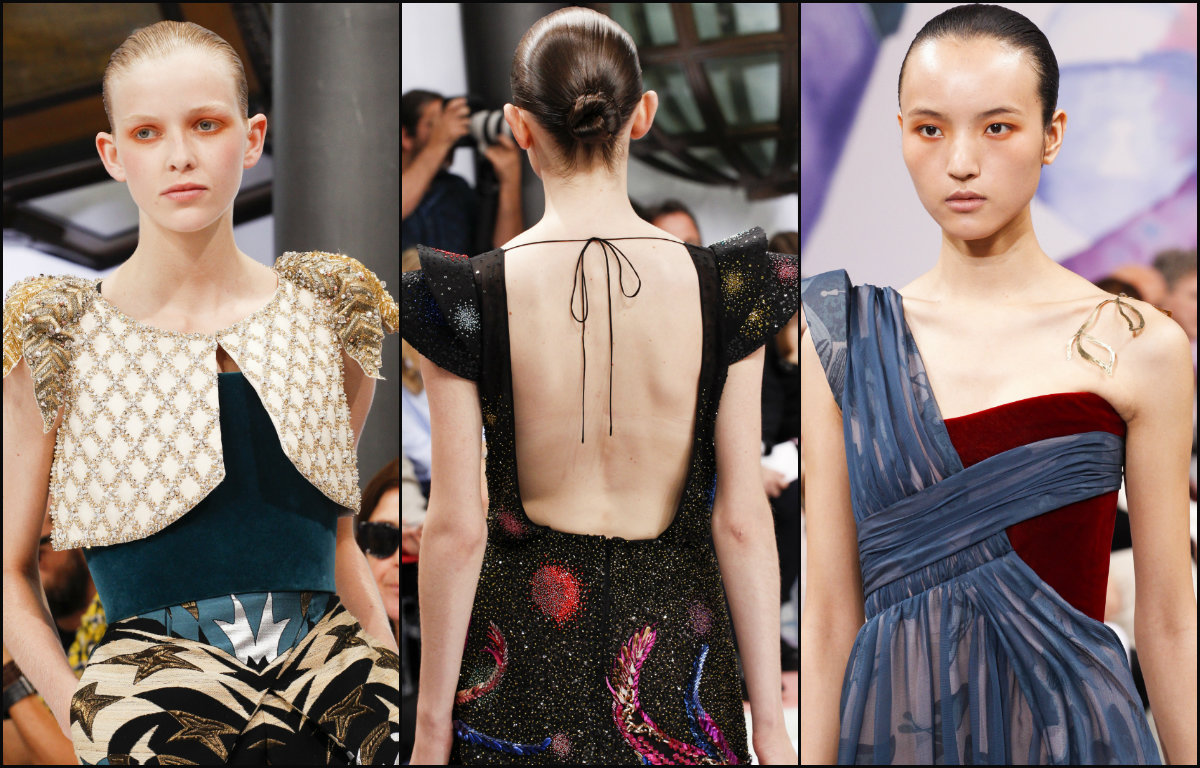 Schiaparelli slicked bun hairstyles 2017 couture