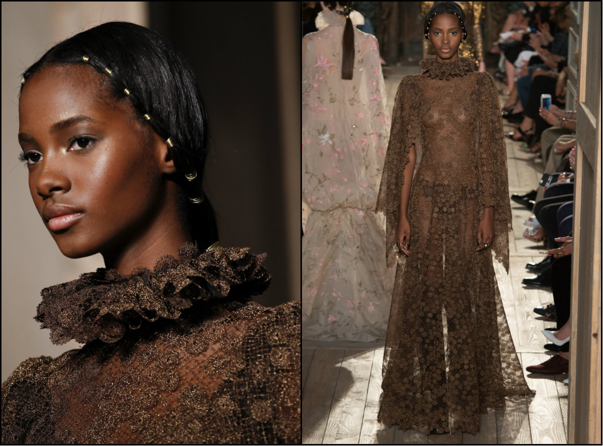 Valentino Couture 2017 center parted hairstyles for black women