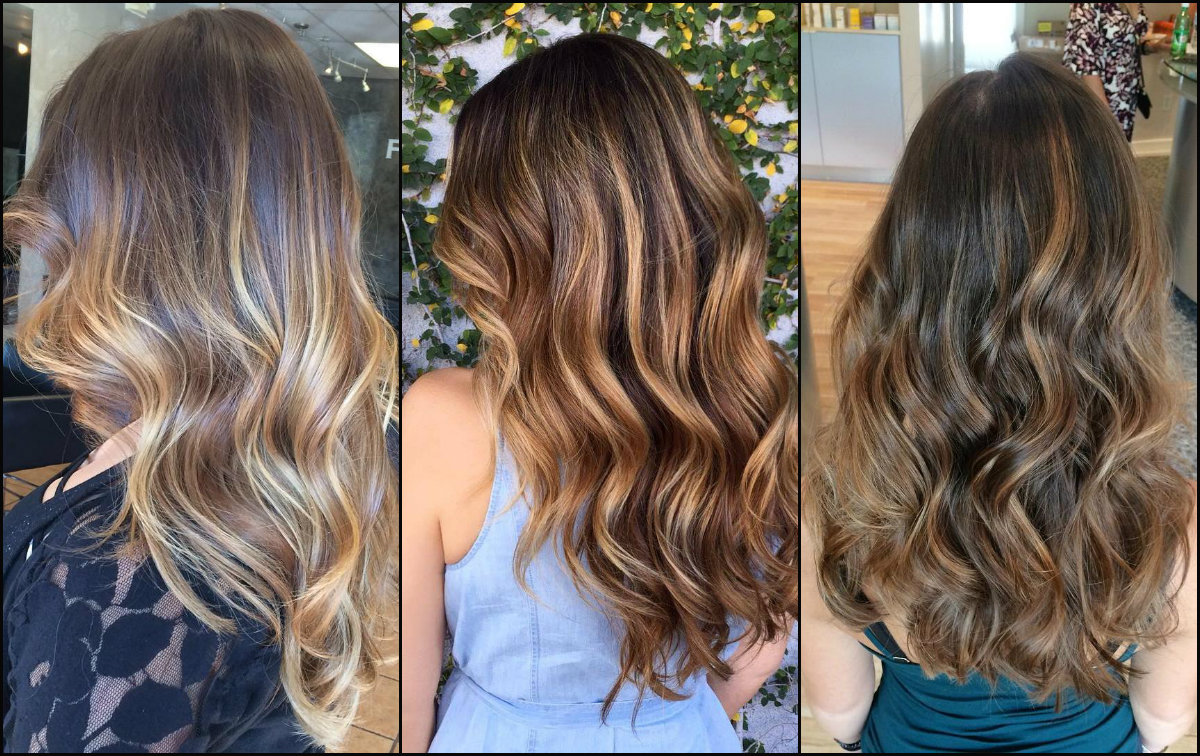 balayage hair colors backview