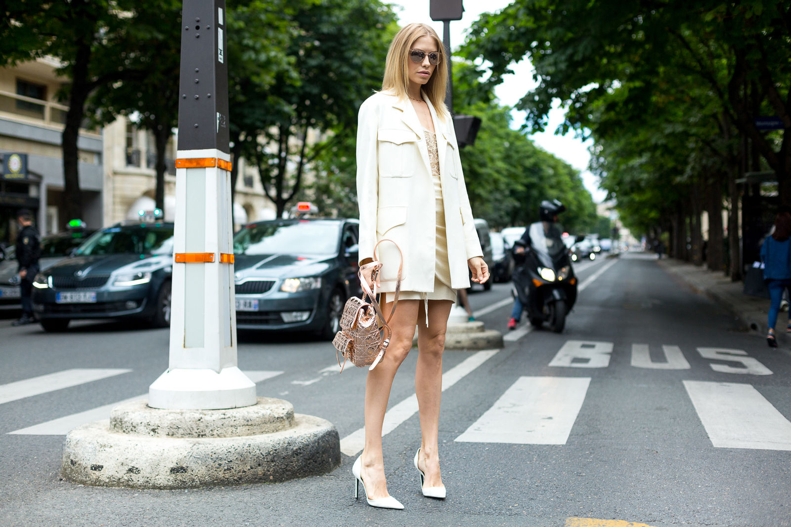 center parts from street style looks Paris Couture