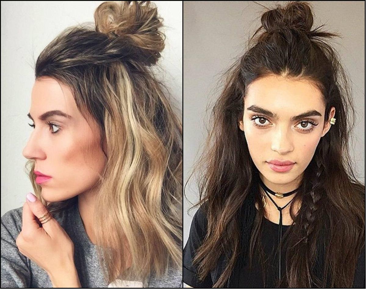 messy half up half down top knots hairstyles