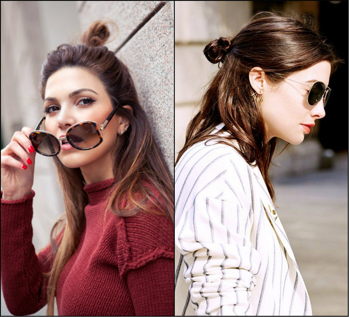 street style half up half down top knots hairstyles