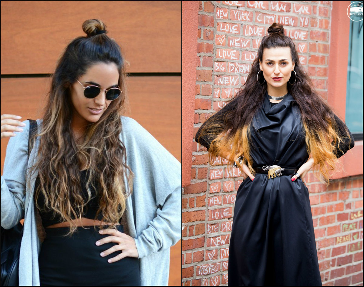 street style half up half down top knots