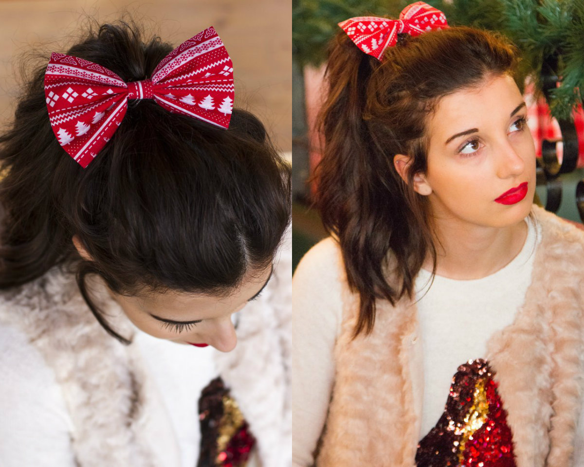 Christmas ponytail hairstyles with bow