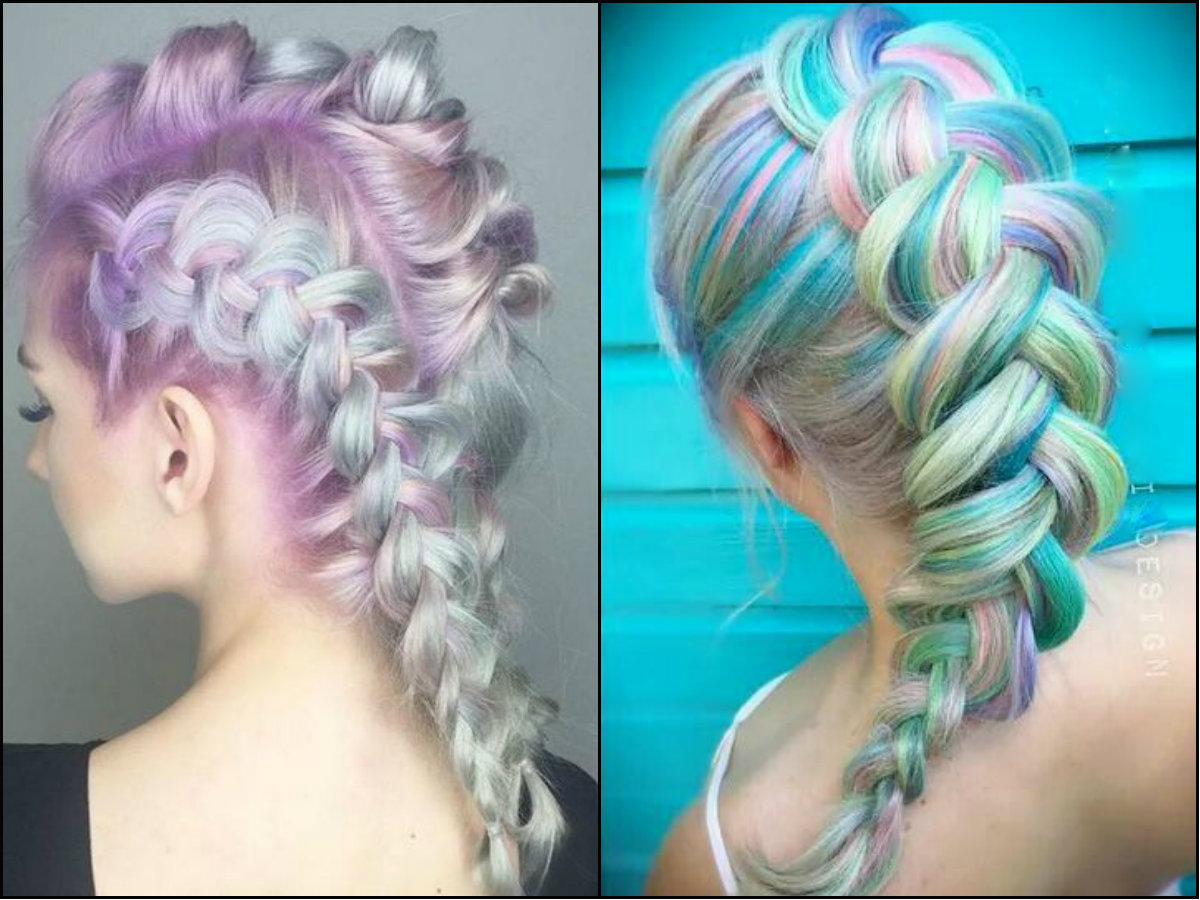 Mohawk braids hairstyles on pastel hair